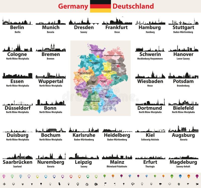 Carte de l'Allemagne avec l'ensemble de vecteur de silhouettes d'horizons des plus grandes villes illustration de vecteur