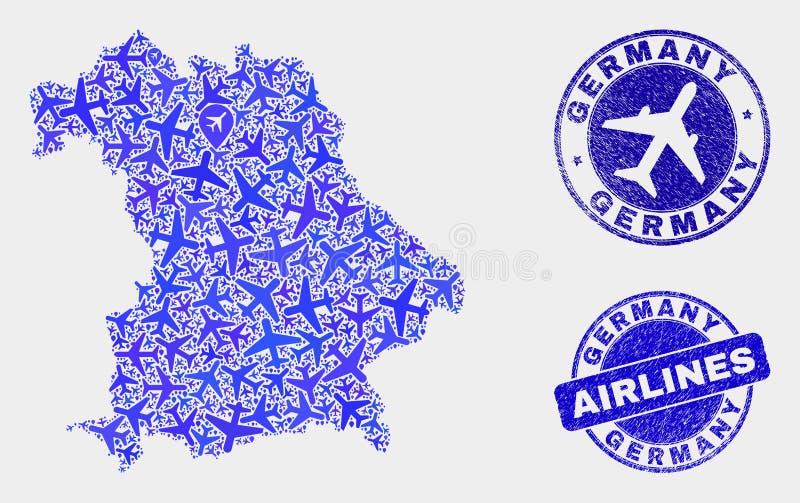 Carte de l'Allemagne de vecteur de mosaïque d'aviation et joints grunges illustration stock