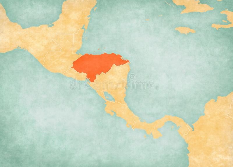 Carte de l'Amérique Centrale - le Honduras illustration stock