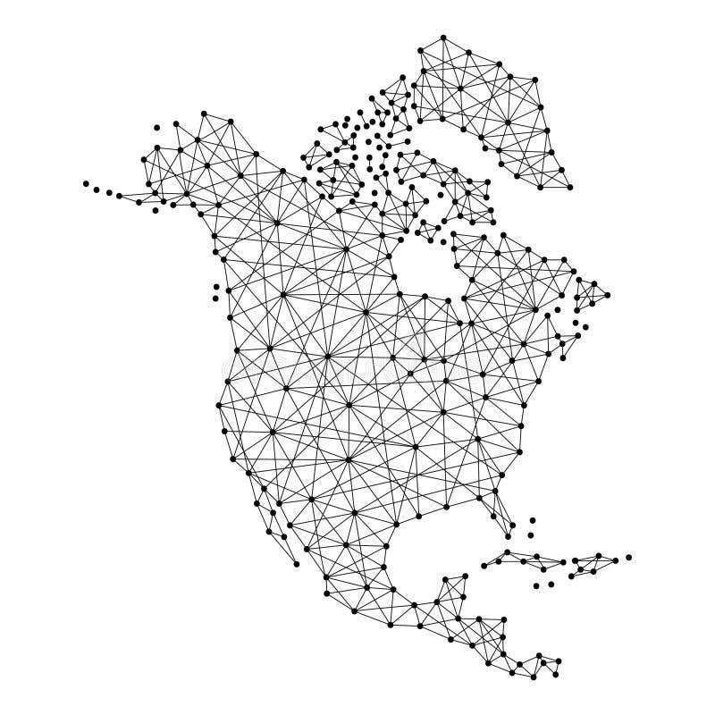 Carte de l'Amérique du Nord des lignes noires polygonales, points d'illustration de vecteur illustration stock
