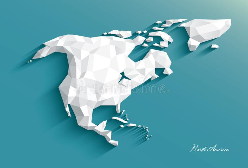 Carte de l'Amérique du Nord Style polygonal blanc abstrait Vecteur illustration de vecteur