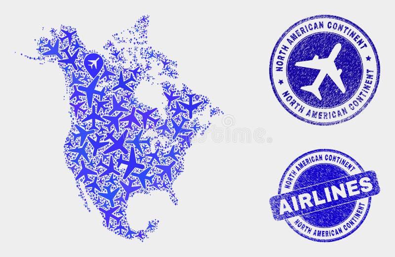 Carte de l'Amérique du Nord V2 de vecteur de composition en avion d'air et timbres grunges illustration stock