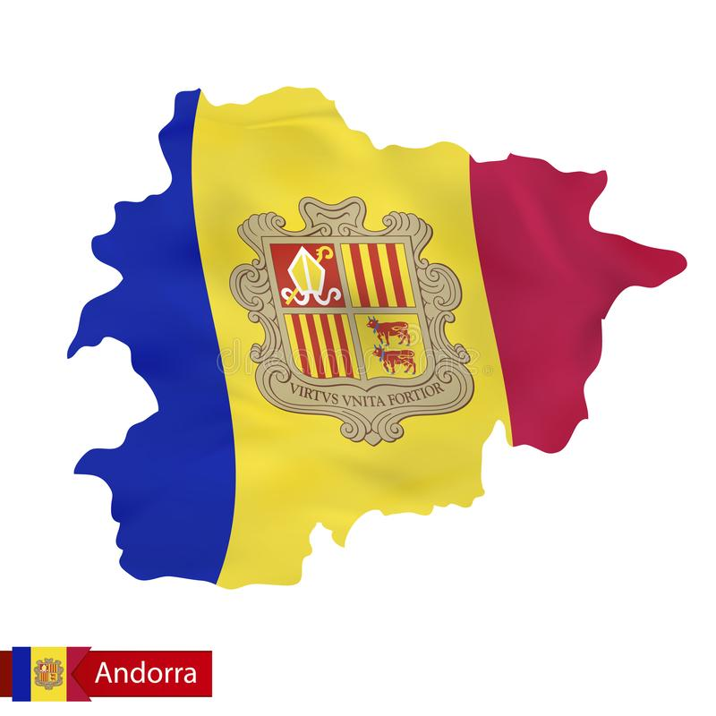 Carte de l'Andorre avec le drapeau de ondulation de l'Andorre illustration libre de droits
