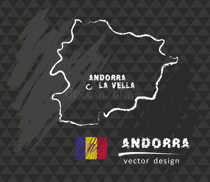 Carte de l'Andorre, dessin de vecteur sur le tableau noir illustration de vecteur