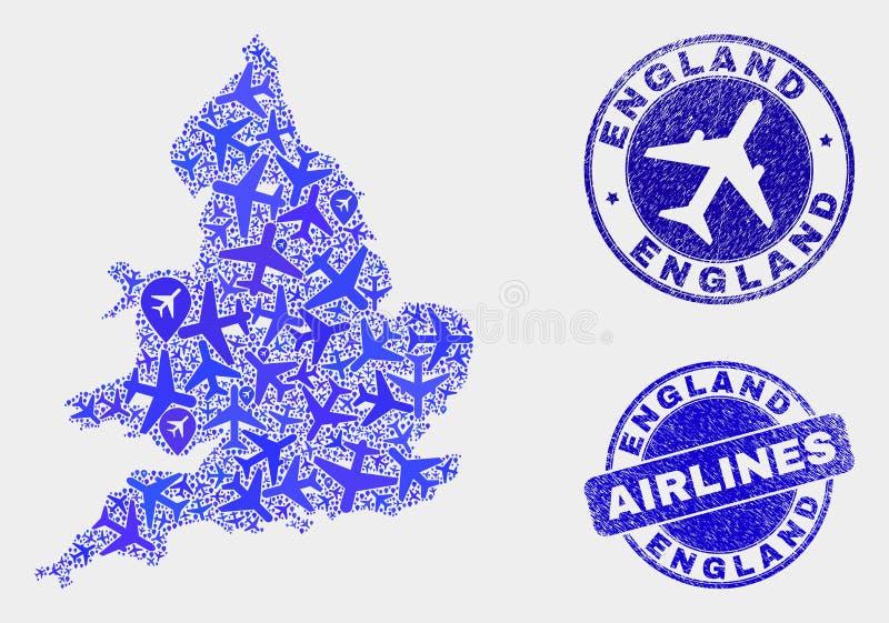 Carte de l'Angleterre de vecteur de collage d'avions et joints grunges illustration libre de droits