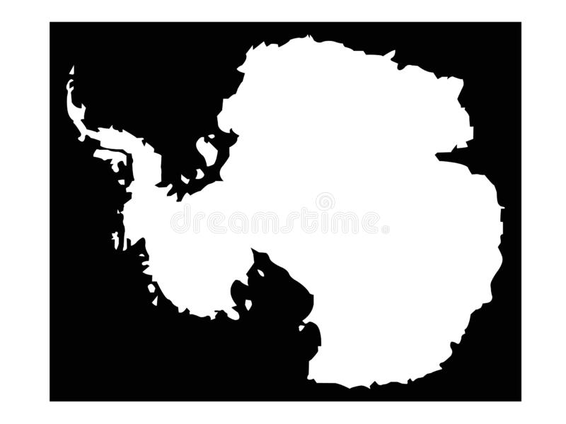 Carte de l'Antarctique - le continent le plus le plus au sud de la terre illustration stock