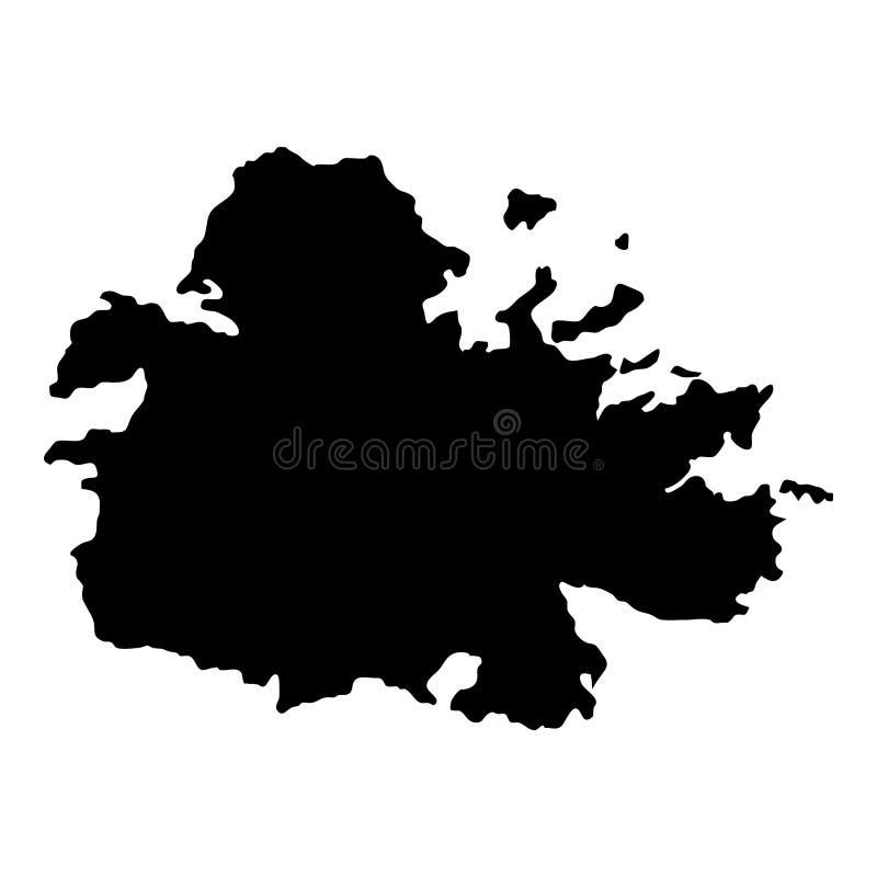 Carte de l'Antigua illustration de vecteur