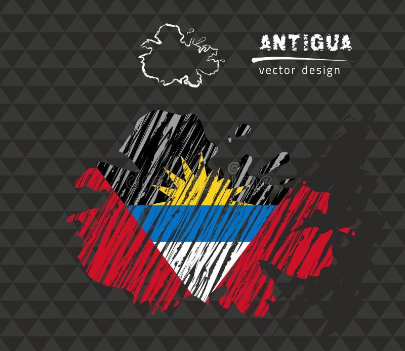 Carte de l'Antigua avec le drapeau à l'intérieur sur le fond noir Illustration de vecteur de croquis de craie illustration de vecteur