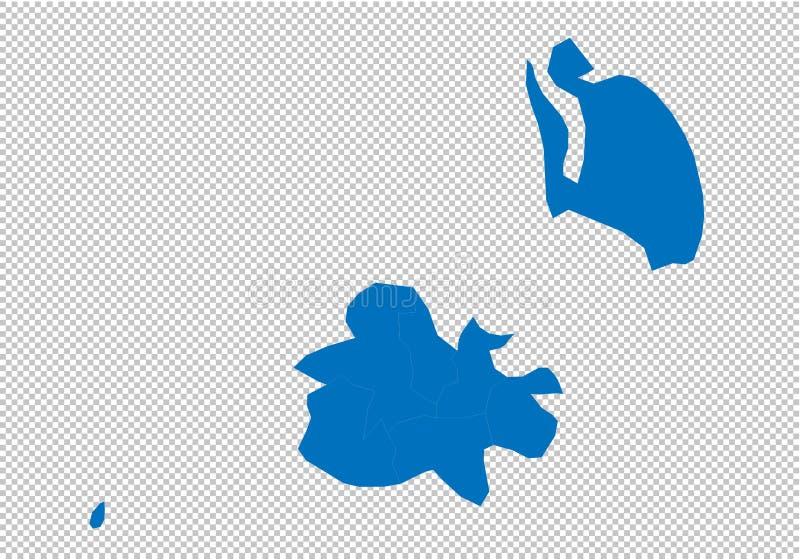 Carte de l'Antigua Barbuda - carte bleue détaillée de haute avec des comtés/régions/états de l'Antigua Barbuda carte de l'Antigua illustration stock