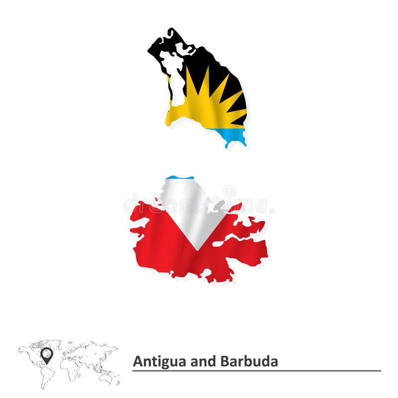 Carte de l'Antigua-et-Barbuda avec le drapeau illustration de vecteur