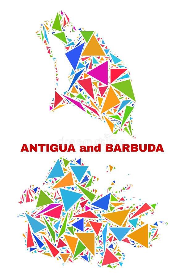Carte de l'Antigua-et-Barbuda - mosaïque des triangles de couleur illustration stock
