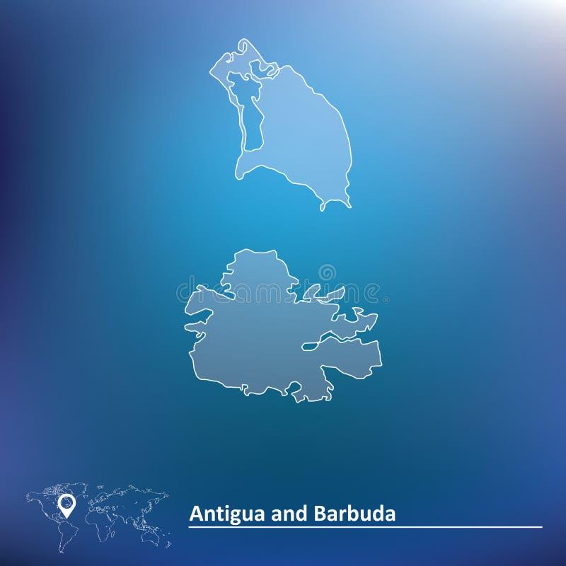 Carte de l'Antigua et du Barbuda illustration libre de droits
