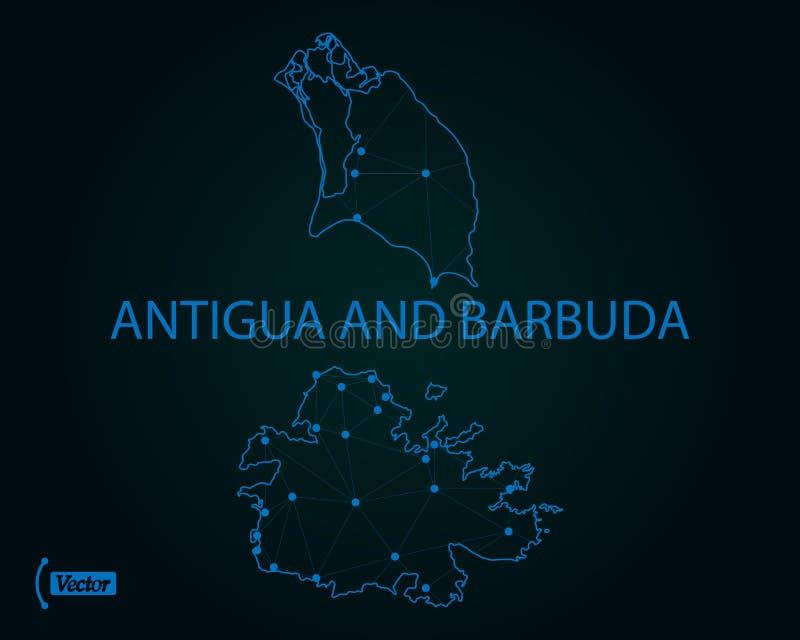 Carte de l'Antigua et du Barbuda Illustration de vecteur Carte du monde illustration libre de droits