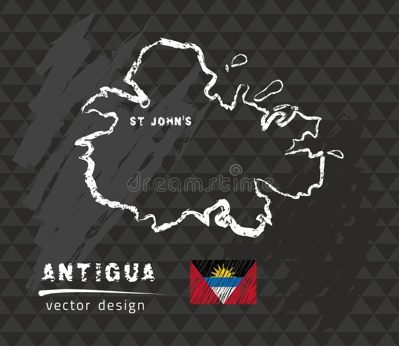 Carte de l'Antigua, illustration de vecteur de croquis de craie illustration de vecteur
