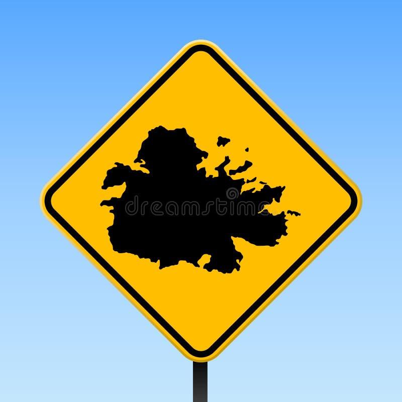 Carte de l'Antigua sur le panneau routier illustration libre de droits