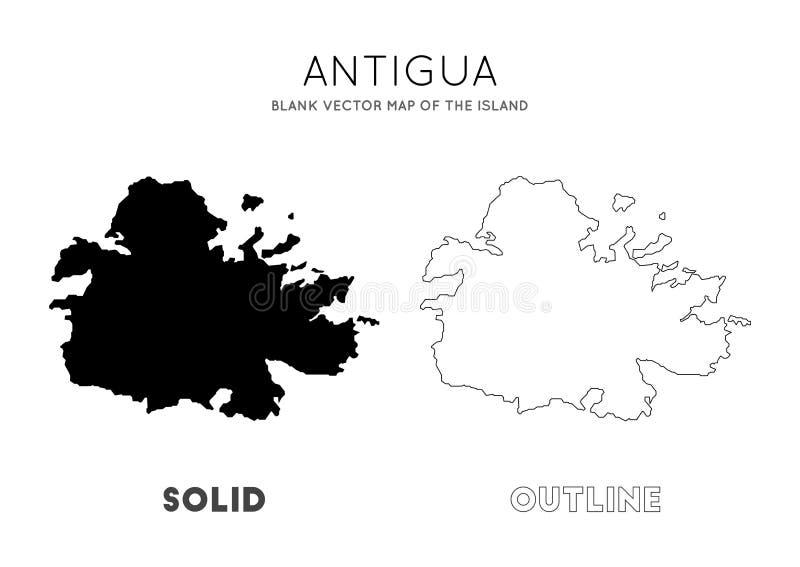 Carte de l'Antigua illustration stock