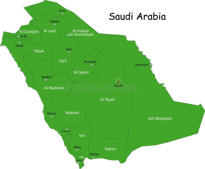 Carte de l'Arabie Saoudite illustration stock