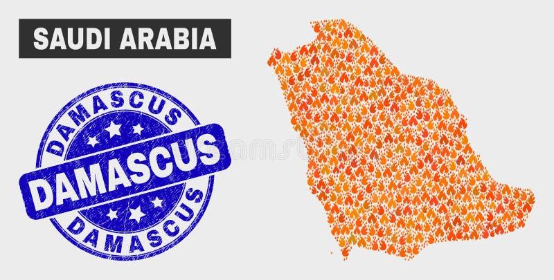 Carte de l'Arabie Saoudite de mosaïque de brûlure et filigrane grunge de Damas illustration libre de droits