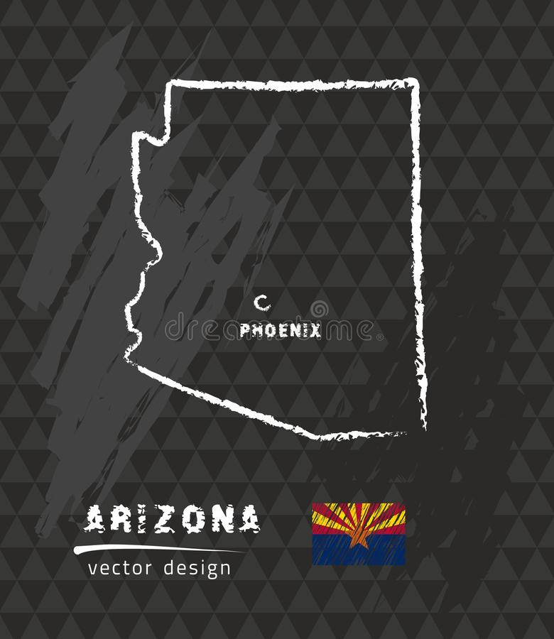 Carte de l'Arizona, illustration de vecteur de croquis de craie illustration de vecteur