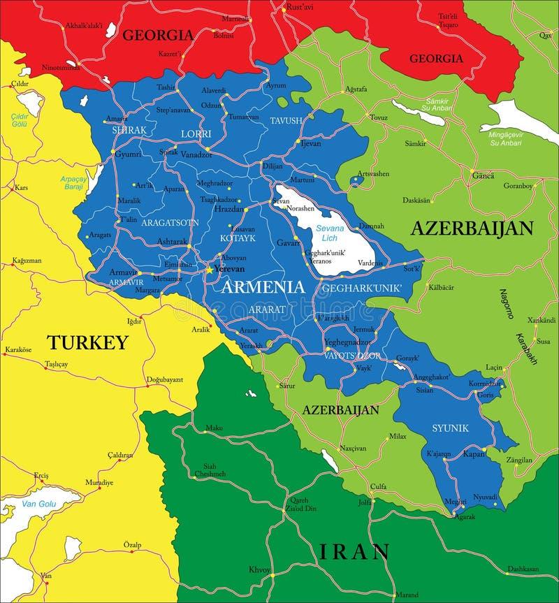 Carte de l'Arménie illustration de vecteur