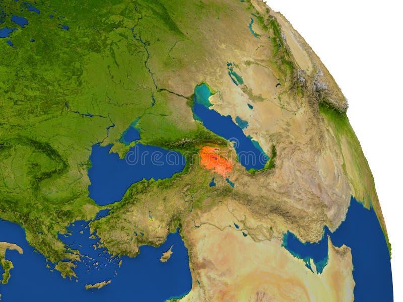 Carte de l'Arménie en rouge illustration de vecteur