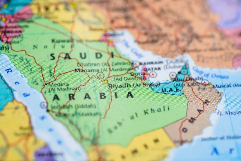 Carte de l'Asie, Arabie Saoudite photos stock