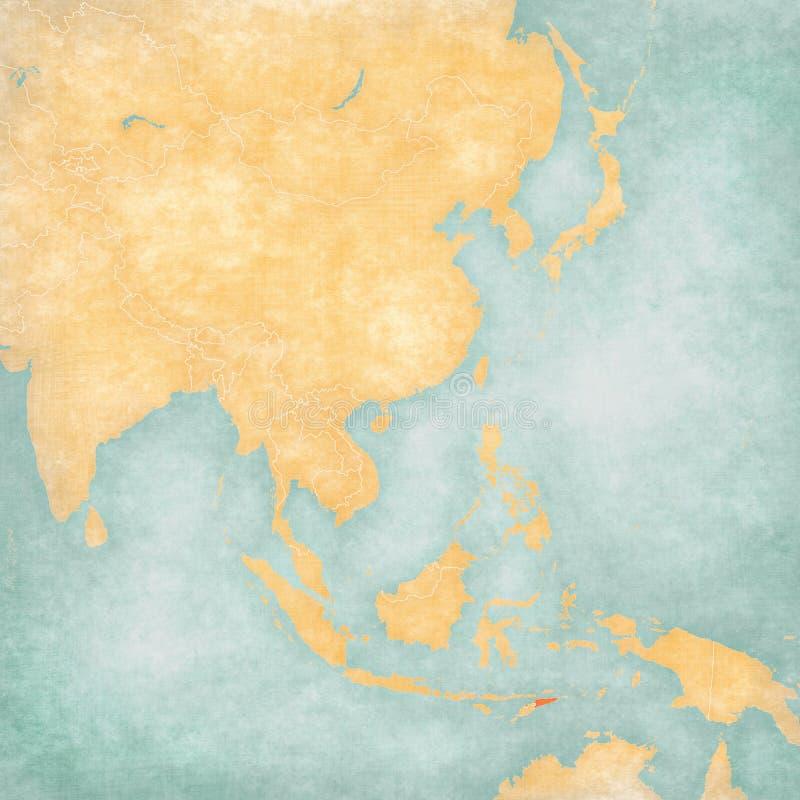 Carte de l'Asie de l'Est - le Timor oriental illustration stock