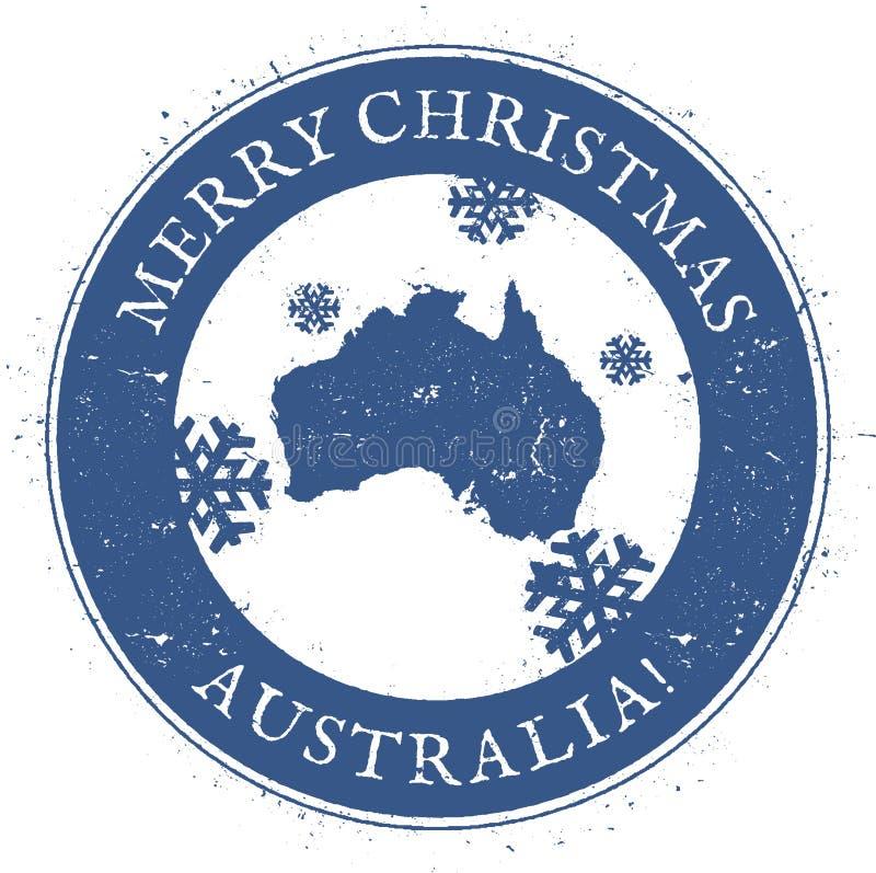 Carte de l'Australie Australie de Joyeux Noël de vintage illustration libre de droits