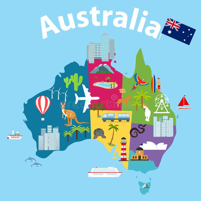Carte de l'Australie, carte de touristes de l'Australie Carte de bande dessinée de l'Australie avec des animaux illustration de vecteur