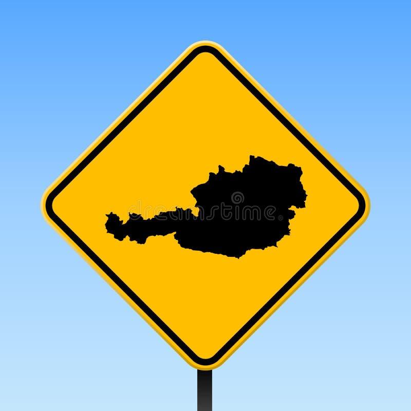 Carte de l'Autriche sur le panneau routier illustration de vecteur