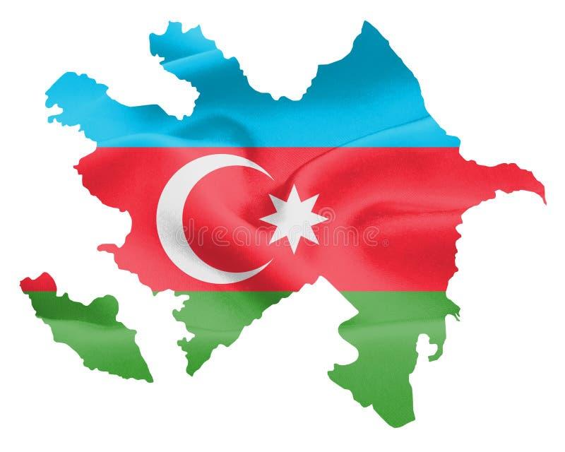 Carte de l'Azerbaïdjan avec le drapeau illustration de vecteur