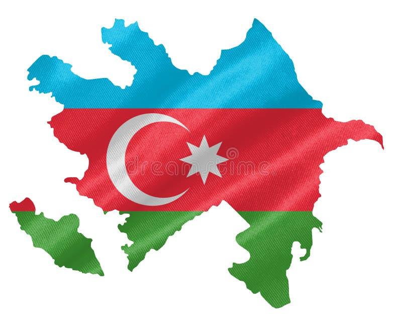 Carte de l'Azerbaïdjan avec le drapeau illustration stock