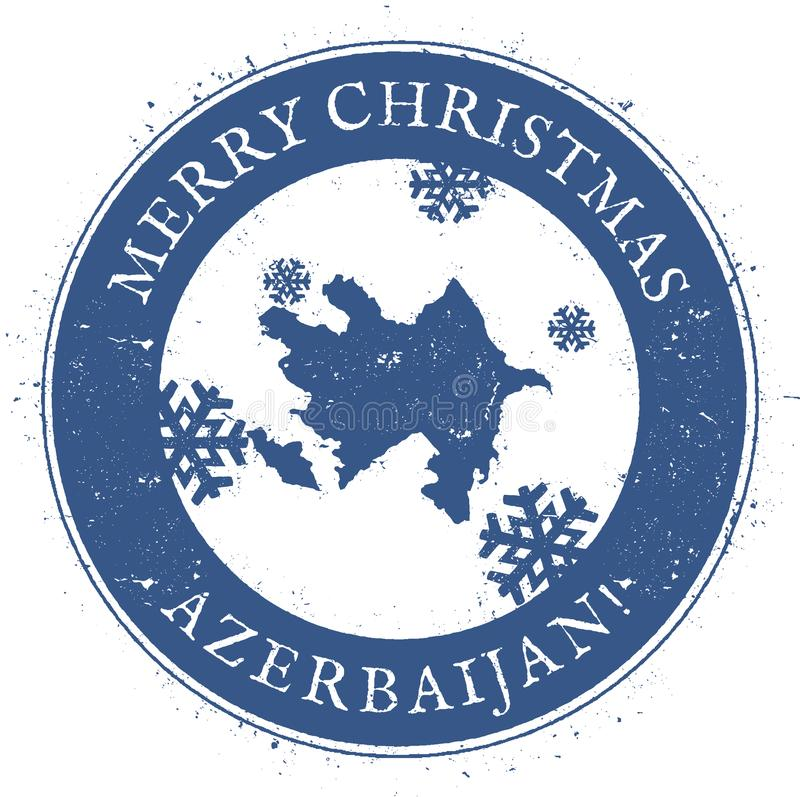 Carte de l'Azerbaïdjan Joyeux Noël de vintage illustration stock