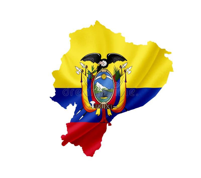 Carte de l'Equateur avec le drapeau de ondulation d'isolement sur le blanc photo stock