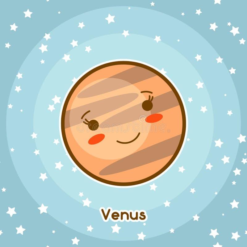 Carte de l'espace de Kawaii Griffonnage avec la jolie expression du visage Illustration de venus de bande dessinée en ciel étoilé illustration de vecteur