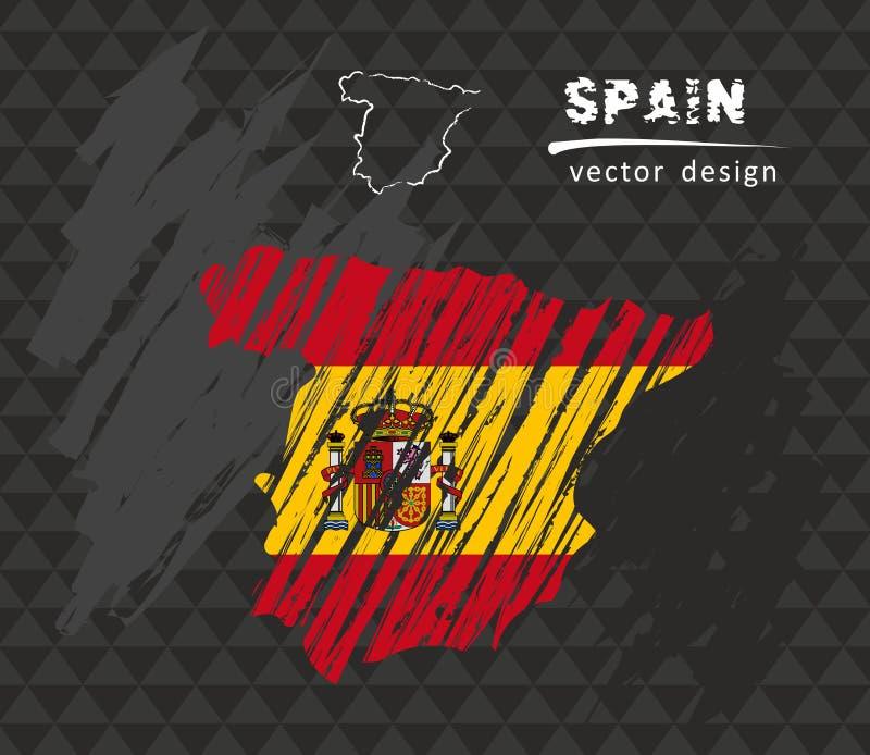 Carte de l'Espagne avec le drapeau à l'intérieur sur le tableau noir Illustration de vecteur de croquis de craie illustration libre de droits