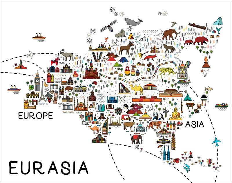 Carte de l'Eurasie Guide de voyage de l'Eurasie Affiche de voyage avec des animaux et des attractions guid?es illustration de vecteur