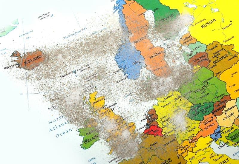 Carte de l'Europe avec la poussière de volcan photo libre de droits