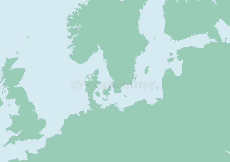 Carte de l'Europe du nord illustration stock
