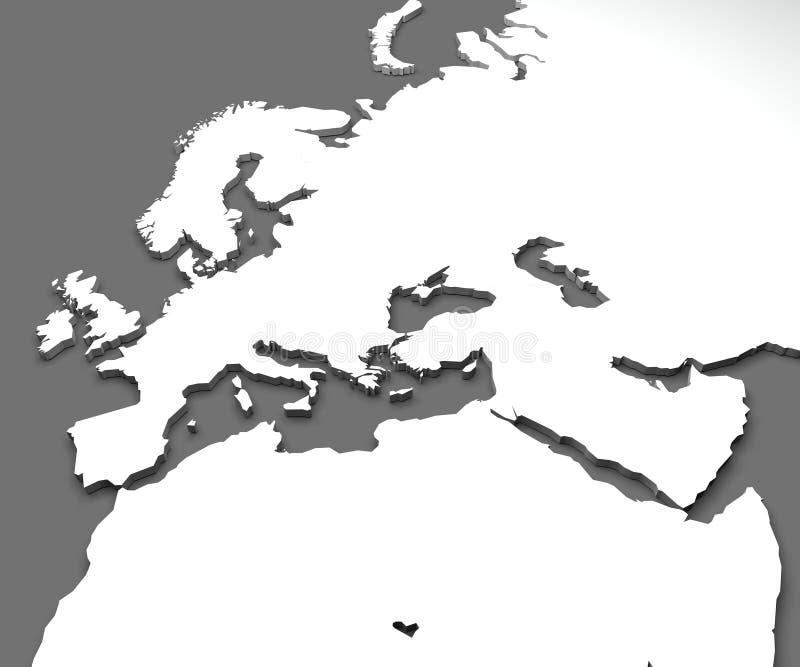 Carte de l'Europe et de l'Afrique, carte du monde illustration de vecteur
