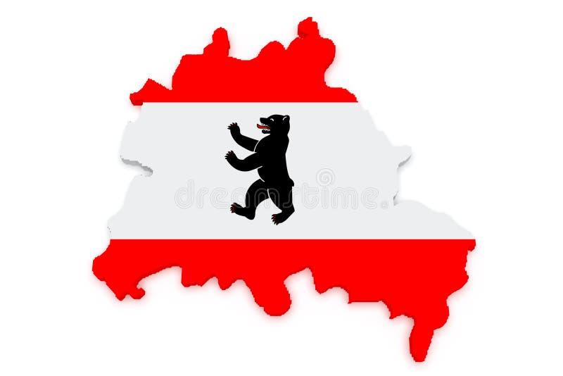 carte de l'illustration 3d de Berlin, Allemagne, drapeau de ville sur un fond blanc illustration de vecteur