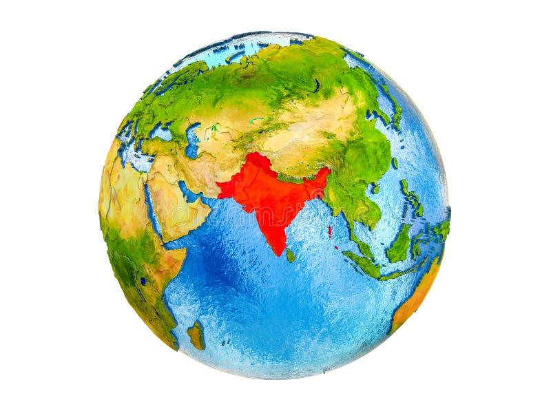 Carte de l'Inde britannique sur terre 3D d'isolement illustration de vecteur