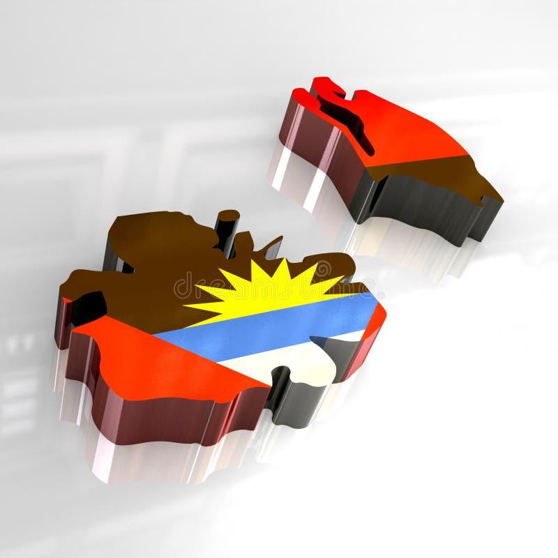 carte de l'indicateur 3d de l'Antigua et du Barbuda illustration de vecteur