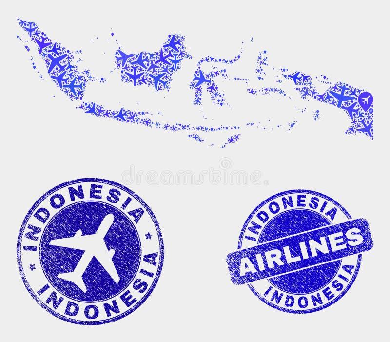Carte de l'Indonésie de vecteur de mosaïque d'avion et joints grunges illustration libre de droits