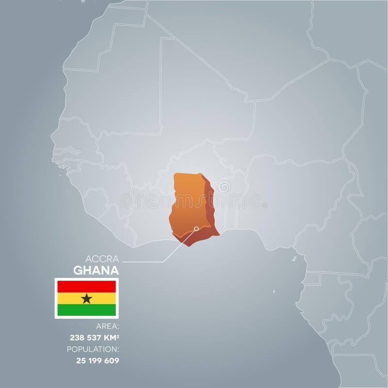 Carte de l'information du Ghana illustration stock