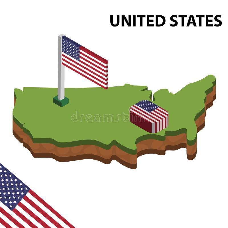 Carte de l'information et drapeau isométriques graphiques des ETATS-UNIS illustration isom?trique du vecteur 3d illustration stock