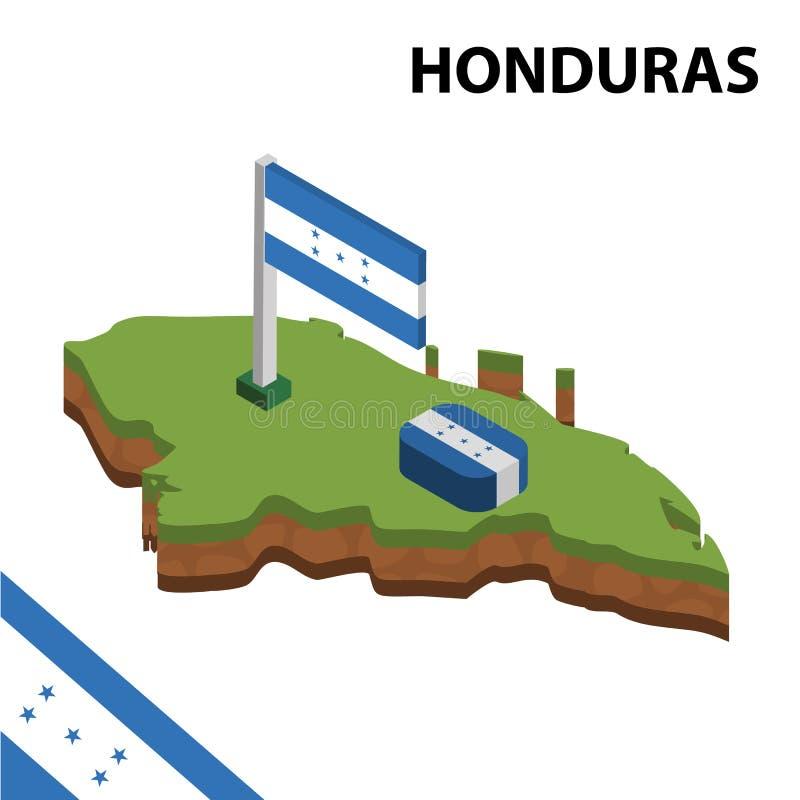 Carte de l'information et drapeau isométriques graphiques du HONDURAS illustration isom?trique du vecteur 3d illustration stock