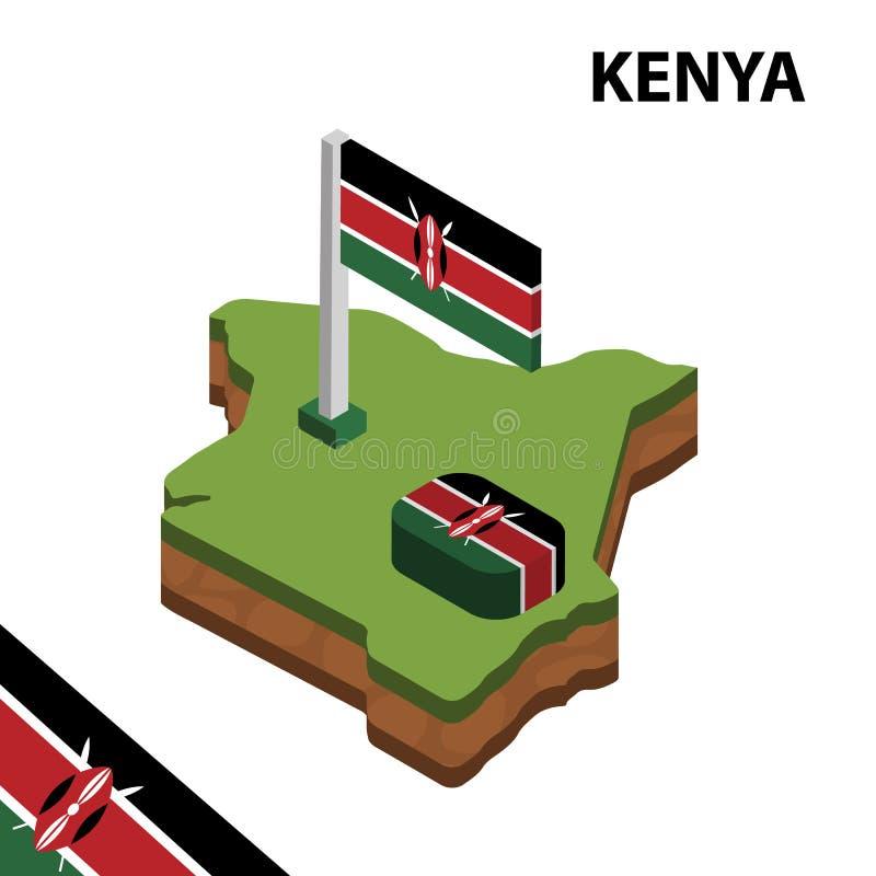 Carte de l'information et drapeau isom?triques graphiques du KENYA illustration isom?trique du vecteur 3d illustration de vecteur