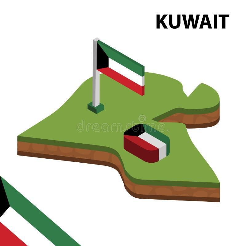 Carte de l'information et drapeau isom?triques graphiques du KOW?IT illustration isom?trique du vecteur 3d illustration de vecteur