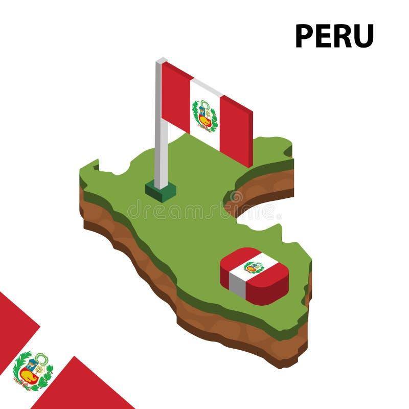 Carte de l'information et drapeau isométriques graphiques du PÉROU illustration isom?trique du vecteur 3d illustration de vecteur